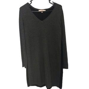 LOFT Gray Colorblock V-Neck Sweater Dress